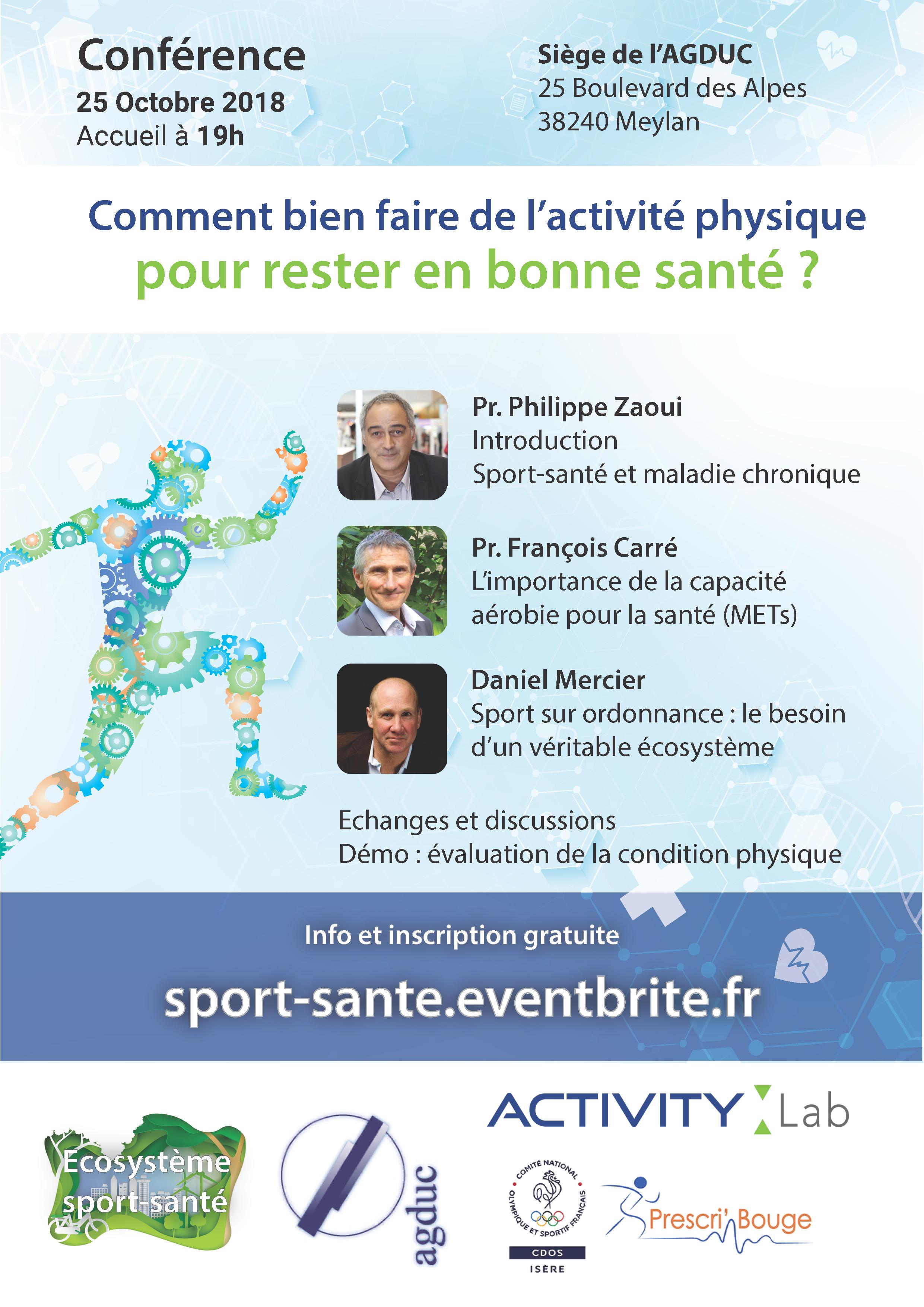 """Conférence Activity Lab : """"Comment bien faire de l'activité physique pour rester en bonne santé?"""" @ Siège de l'AGDUC"""