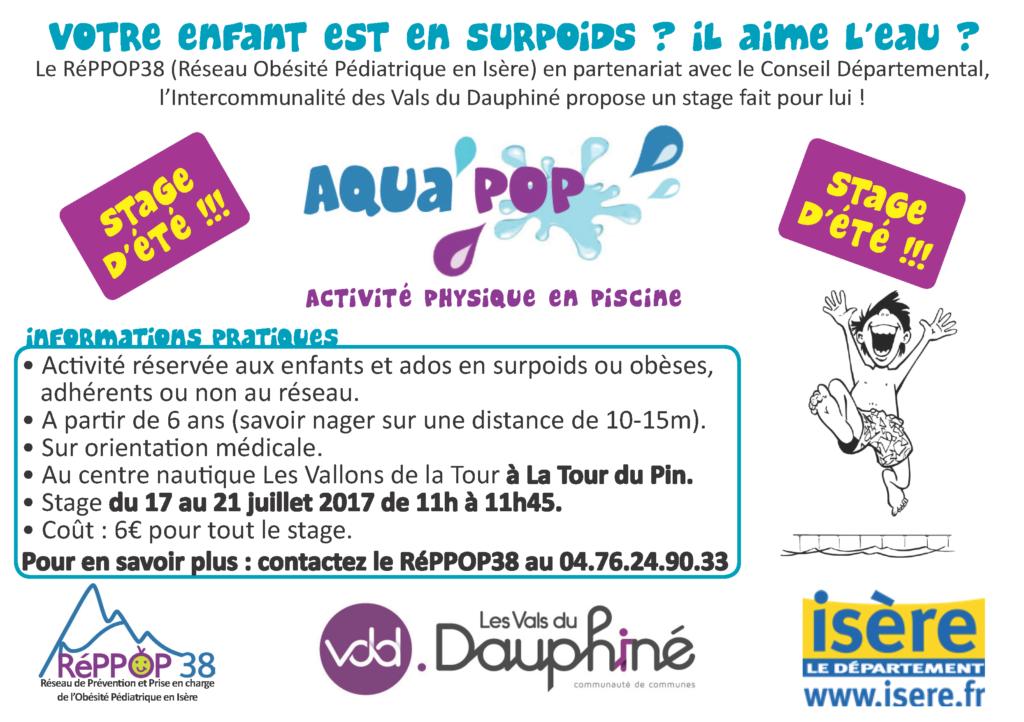 Stage d'été AquaPOP pour enfants et ados en surpoids ou obèses, à la Tour du Pin @ Centre Nautique les Vallons de la Tour
