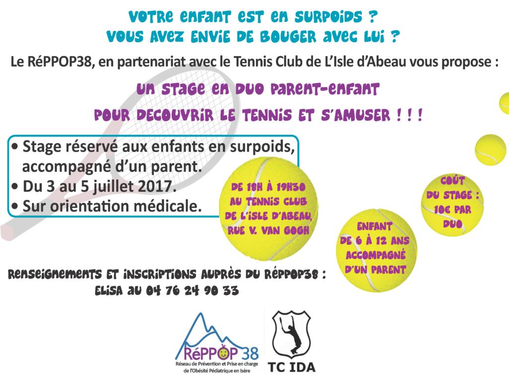 Stage de Tennis en duo Parent-Enfant en surpoids, à L'Isle d'Abeau @ Tennis club de L'Isle d'Abeau